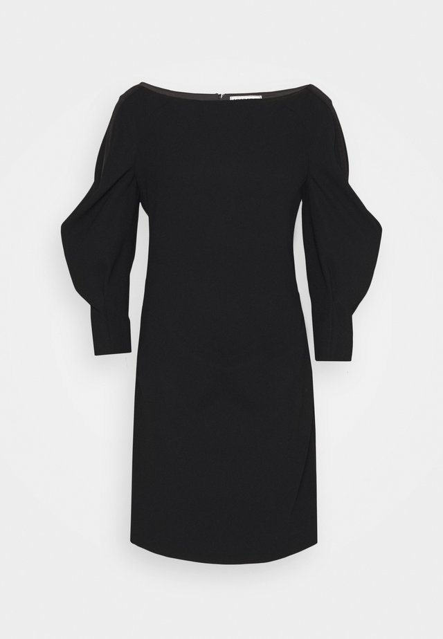FUSCHIA DRAPEY DRESS - Etui-jurk - black