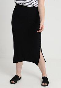 Zizzi - ANGLE SKIRT - Maxi skirt - black - 0