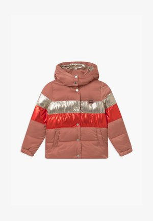 COLOUR-BLOCK PUFFER - Winter jacket - pink/red/silver