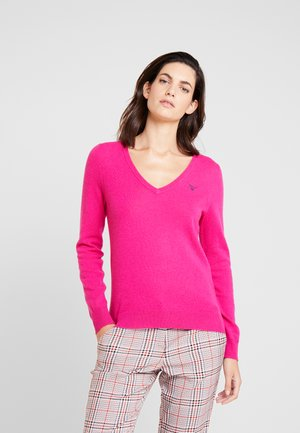 EXTRAFINE V NECK - Strickpullover - rich pink