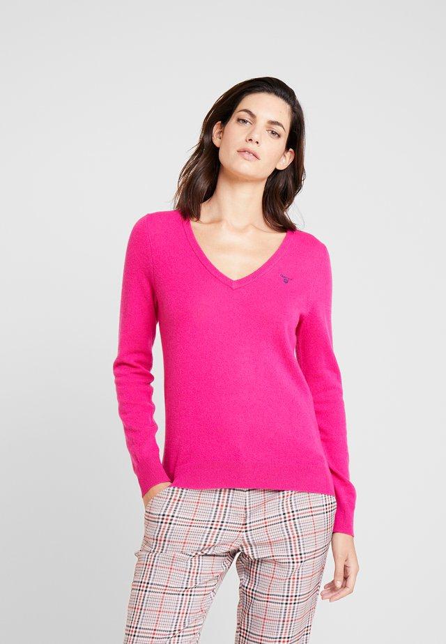EXTRAFINE V NECK - Jumper - rich pink