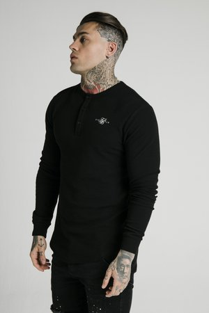 BUTTON DOWN TEE - Longsleeve - black