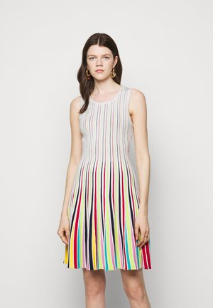 GODET STRIPE FIT AND FLARE - Cocktail dress / Party dress - white multi