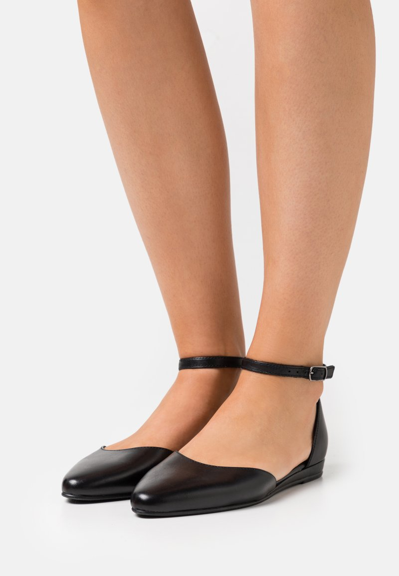 Tamaris - Ankle strap ballet pumps - black