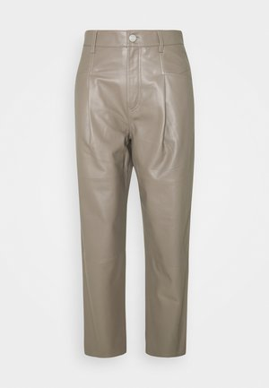 PEARL - Leather trousers - muddy beige