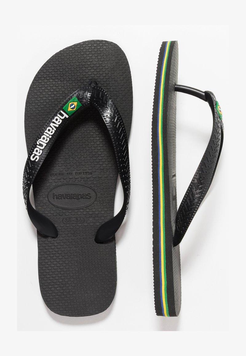 Havaianas - BRASIL LOGO - Badesko - black/black