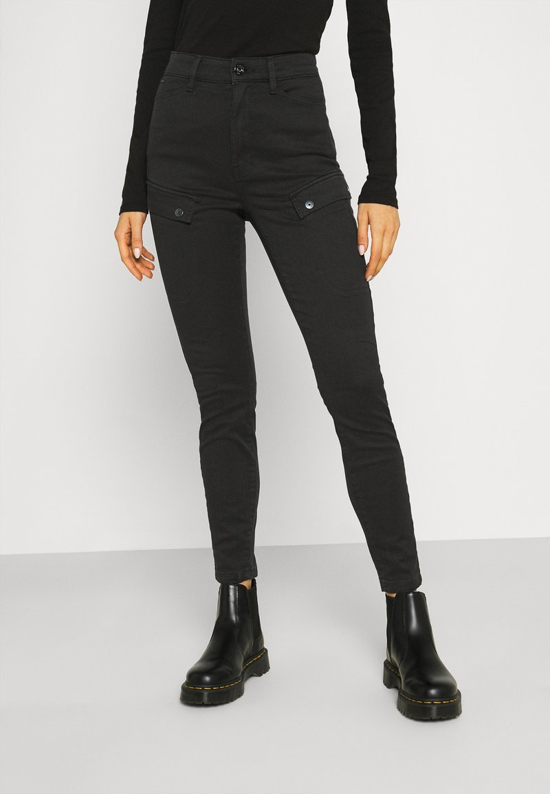 G-Star - BLOSSITE ARMY ULTRA HIGH SKINNY WMN - Trousers - dk black gd