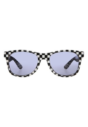 Sunglasses - black-white check-flame