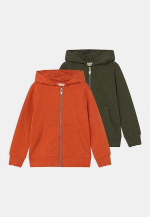 2 PACK - Sudadera con cremallera - rifle green/aurora red