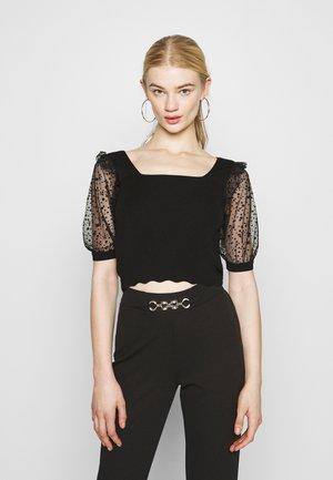 SLEEVE SQUARE NECK JUMPER - Paprasti marškinėliai - black
