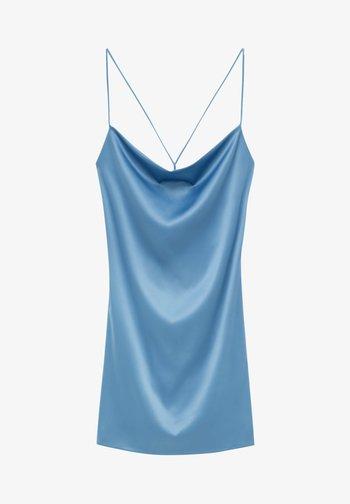 SATINIERTES DRAPIERTEM AUSSCHNITT - Koktejlové šaty/ šaty na párty - blue grey