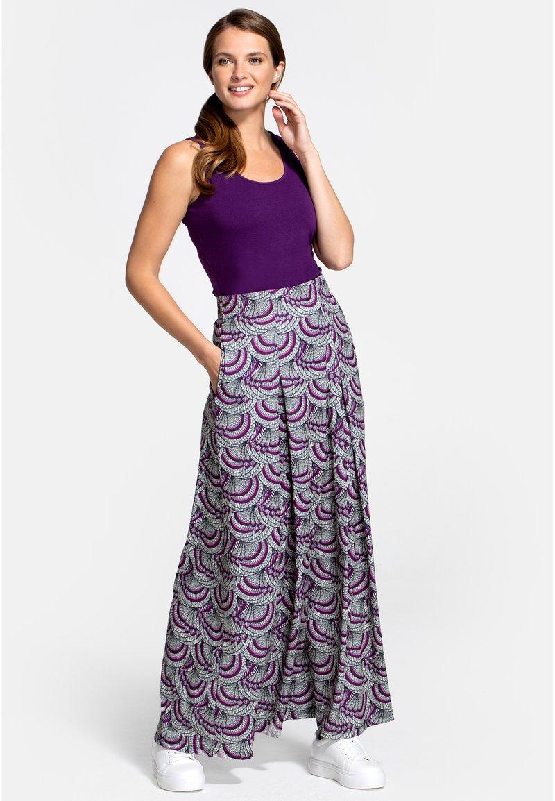 HotSquash - BOX - Áčková sukně - purple kimono print