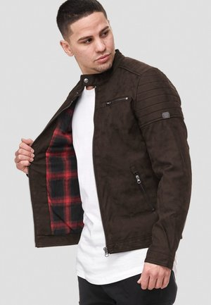 MANUEL - Veste en similicuir - dark brown
