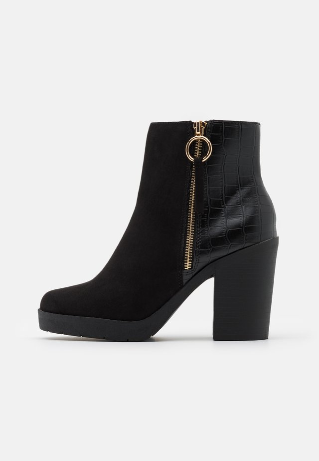ABBY SIDE ZIP HEELED  - Botki na obcasie - black