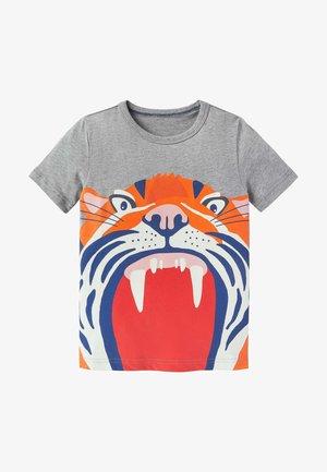 MIT TIERMAUL - Print T-shirt - grau meliert, tiger