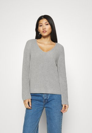 LONGSLEEVE V NECK - Jumper - chalk grey melange