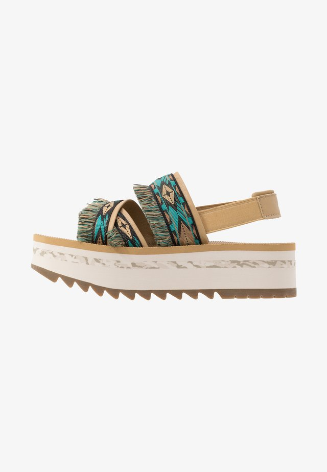 FLATFORM CERES WOMENS - Walking sandals - double diamond teal blue