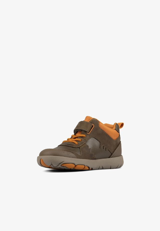 Lace-up ankle boots - khaki leder