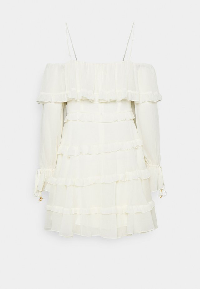 DAISY RUFFLE MINI DRESS - Korte jurk - porcelain