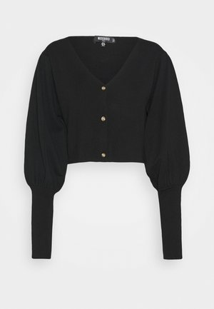 BALLOON SLEEVE CROPPED CARDIGAN - Cardigan - black