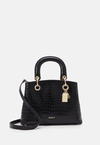 DKNY - TONI SATCHEL MINI SHINY EMBOSSED CROCO - Handbag - black/gold - 1