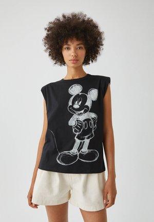 MICKY MAUS MIT SCHULTERPOLSTERN - Print T-shirt - black