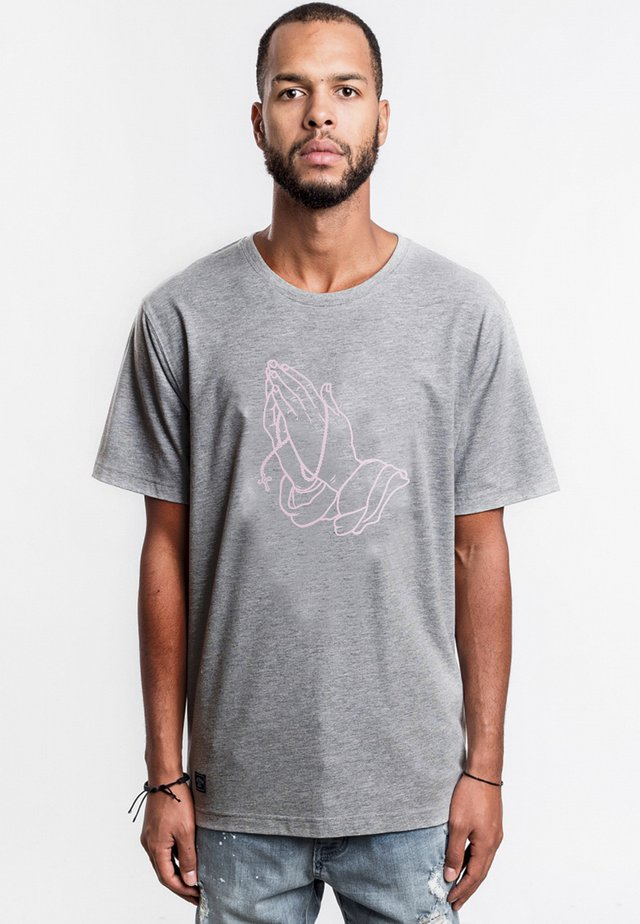 ROSARY TEE - T-shirt imprimé - heather grey/pale pink