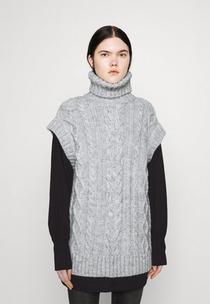 OVERSIZED CABLE TUNIC - Jumper - grey