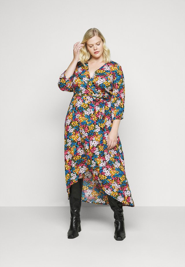 CRINKLE WRAP DRESS - Robe d'été - black