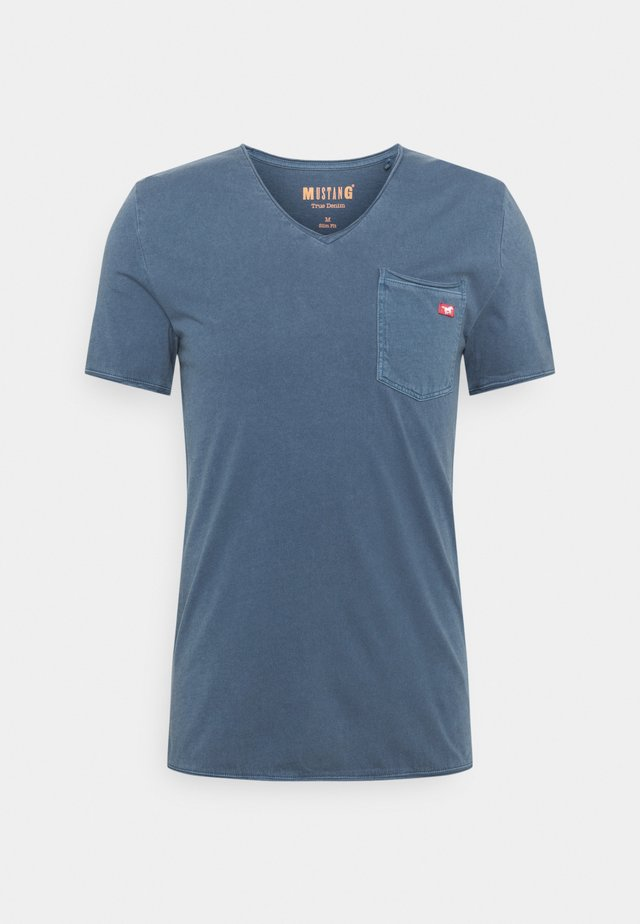 WASHED V NECK - T-shirt basic - ensigne blue
