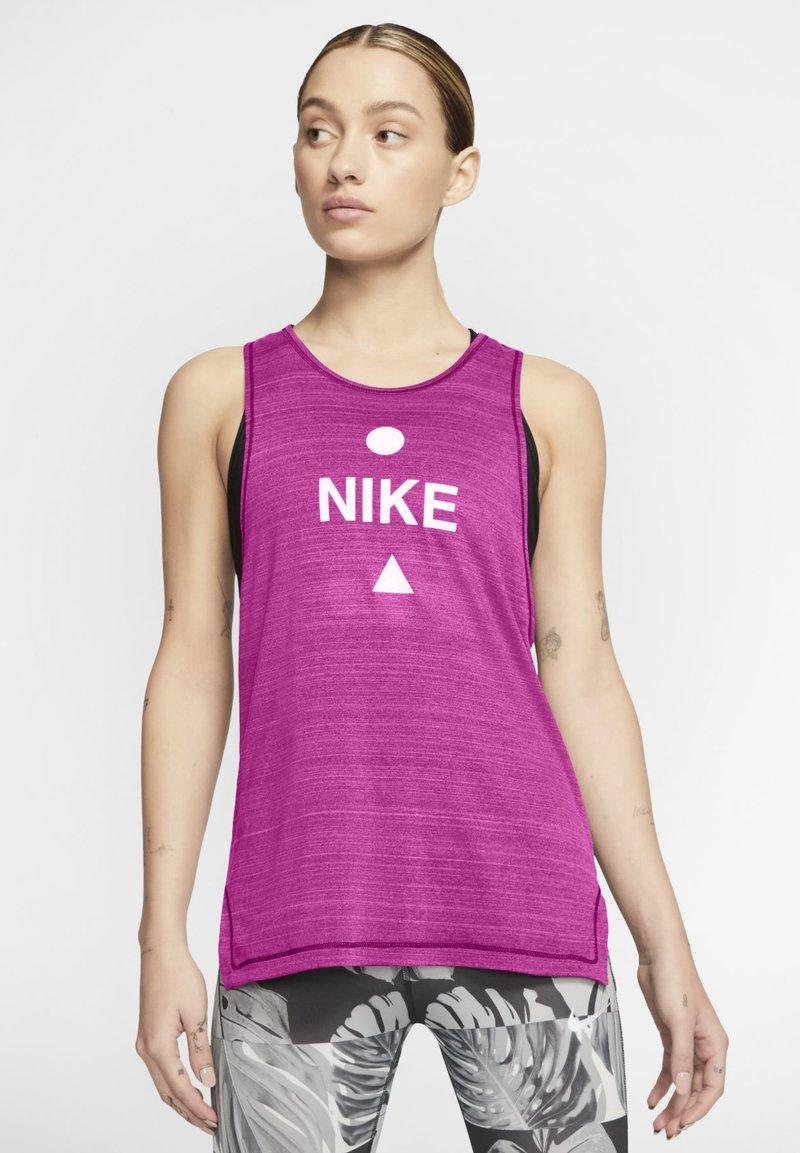 Nike Performance - NIKE ICON CLASH WOMEN'S RUNNING TANK - Top - fire pink/heather/magic flamingo/white