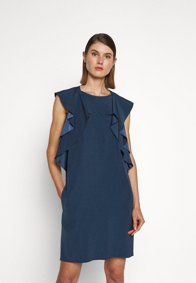 RUFFLE FRONT DRESS - Korte jurk - blue slate