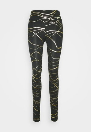 FAST  - Legging - black/metallic gold