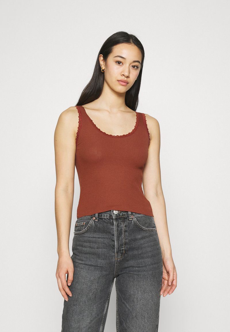 BDG Urban Outfitters - PICOT TRIMMED TANK - Top - mink brown