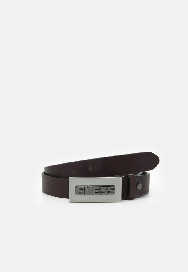 BELT SQUARE LOGO BUCKLE - Pásek - dark brown