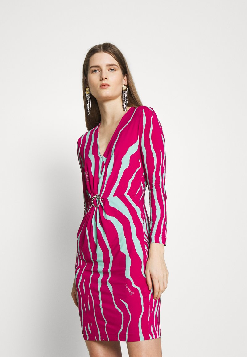 Just Cavalli - Pouzdrové šaty - magenta/mint variant