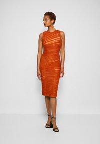 Hervé Léger - ASYMMETRIC DRAPED DRESS - Cocktail dress / Party dress - cognac - 0