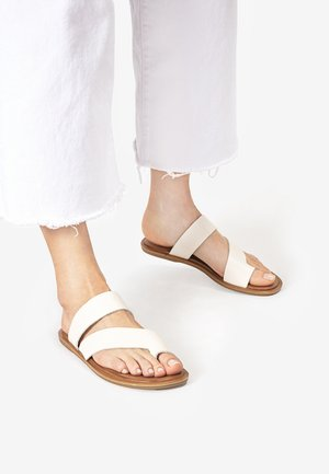 T-bar sandals - beige/weiß