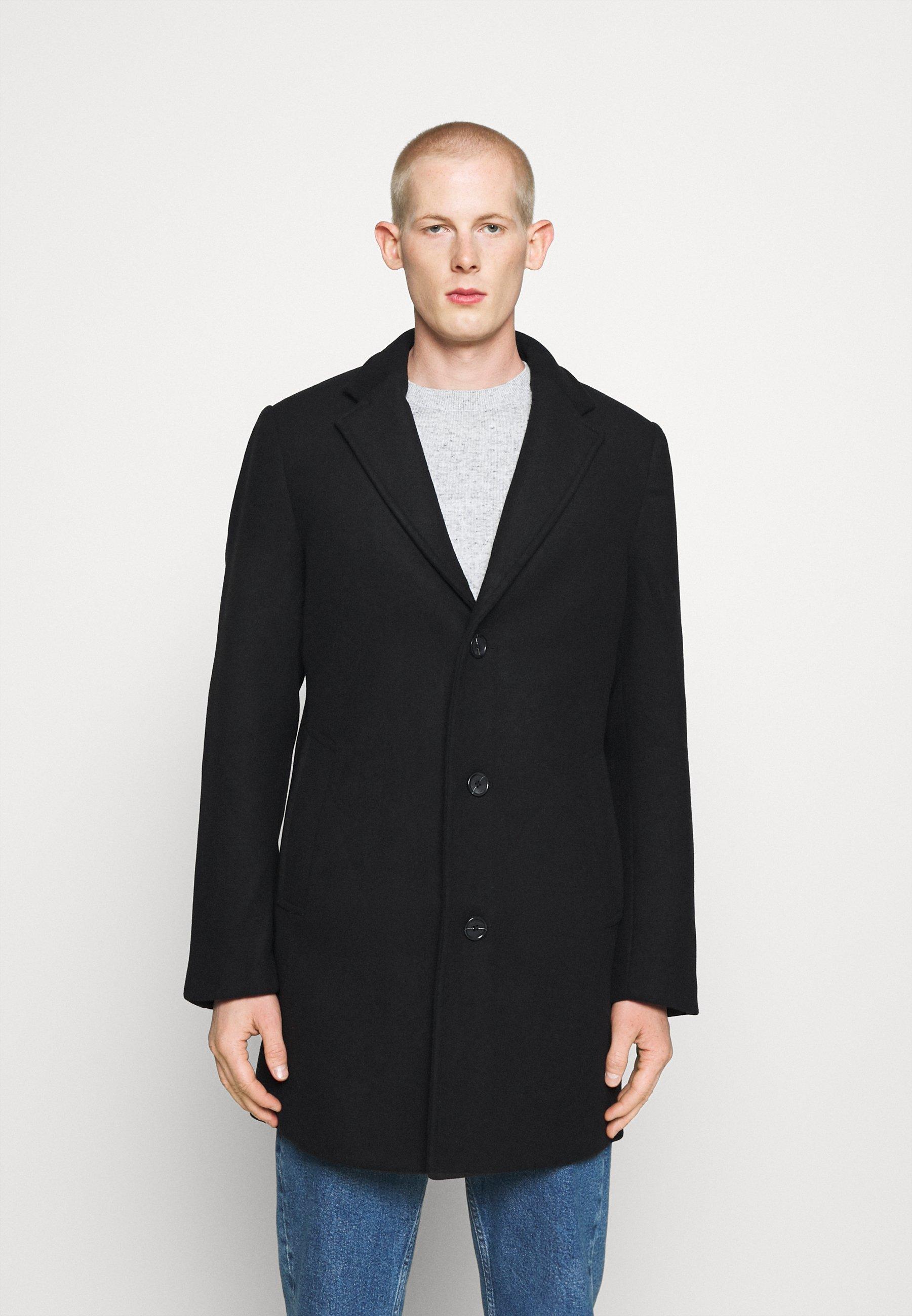 Wollmantelklassischer Mantel black