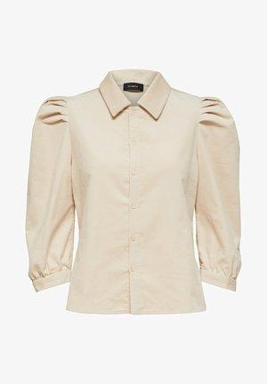 PUFFÄRMEL CORD - Button-down blouse - sandshell