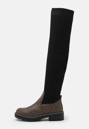 Over-the-knee boots - brown/black