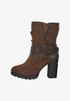 High heeled ankle boots - kastanie
