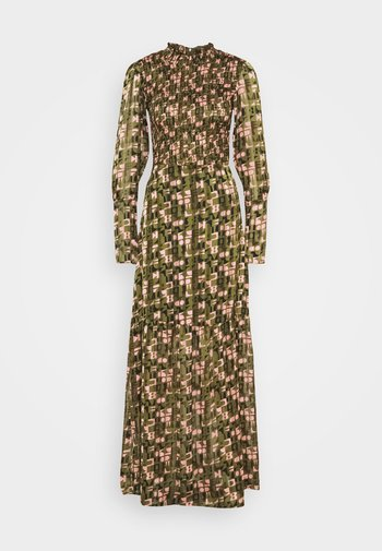 SHEER MAXI DRESS WITH ALL OVER PRINT