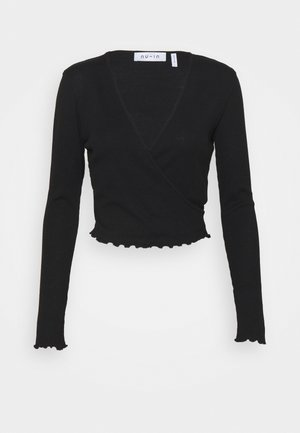 FRONT WRAP LONG SLEEVE - Long sleeved top - black