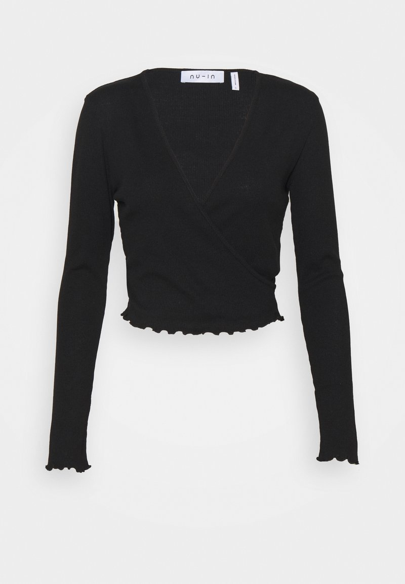 NU-IN - FRONT WRAP LONG SLEEVE - Pitkähihainen paita - black