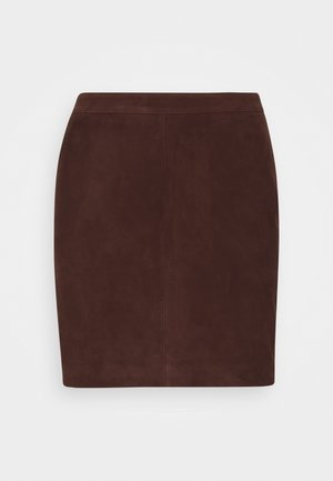 OBJCHLOE SKIRT SEASONAL - Leather skirt - chicory coffee