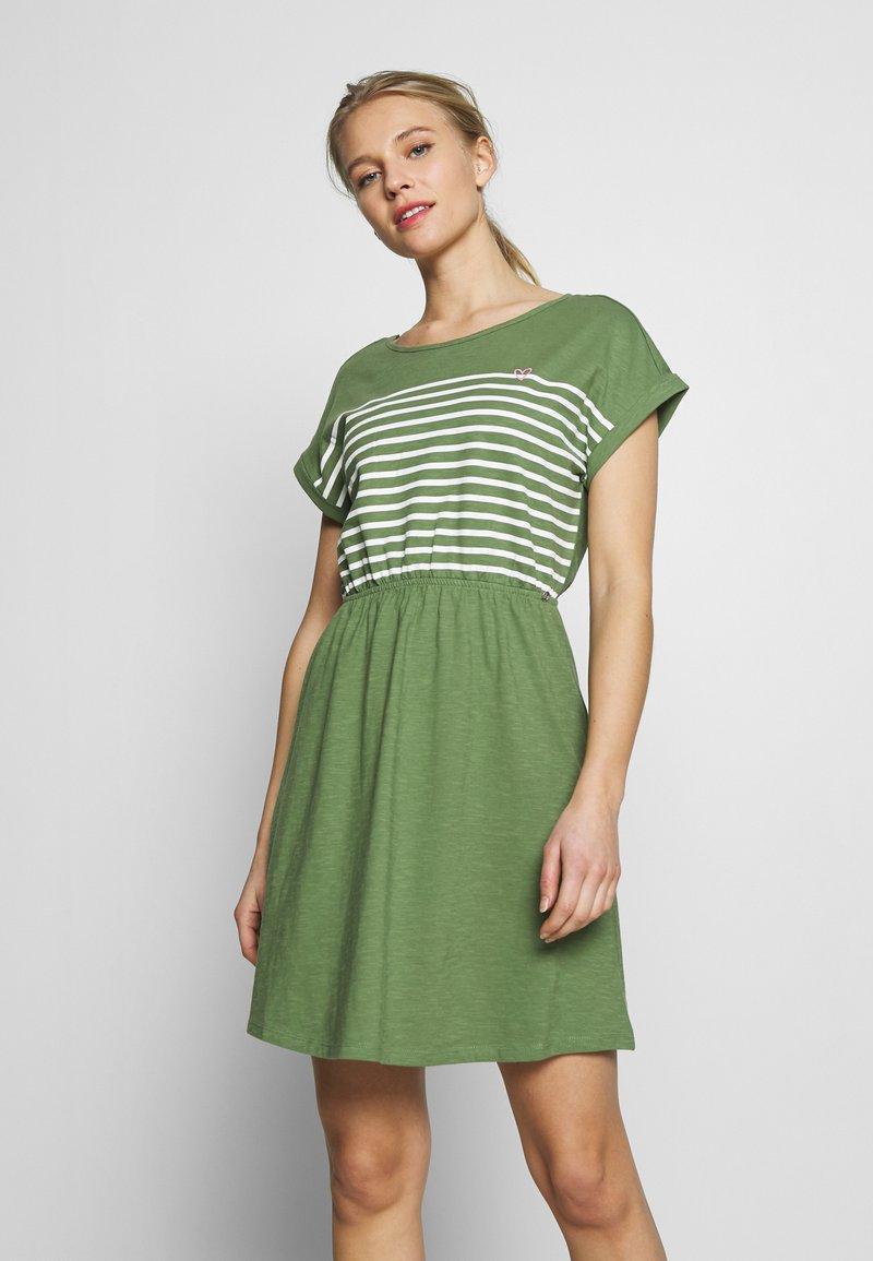 TOM TAILOR DENIM - MINI DRESS WITH STRIPES - Jersey dress - green