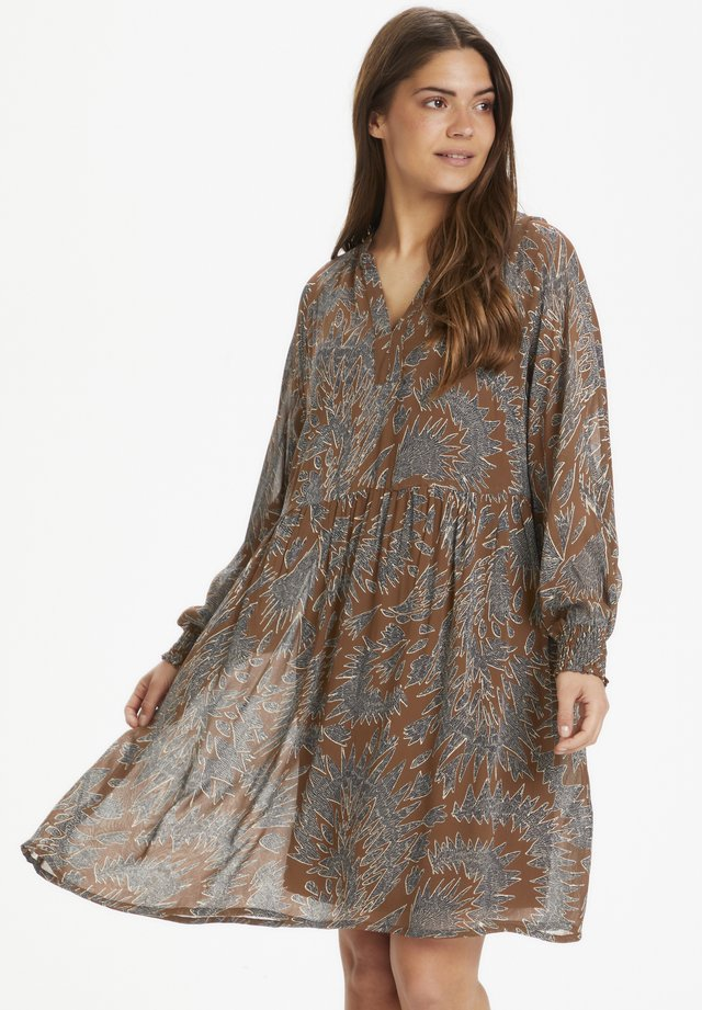 ABIRAPW - Day dress - zig zag print, hazel brown