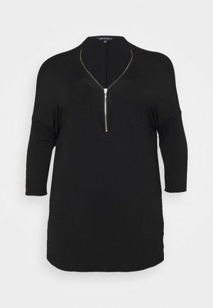 ZIP FRONT LONG SLEEVE TUNIC - Top sdlouhým rukávem - black