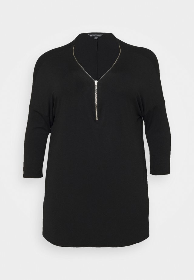 ZIP FRONT LONG SLEEVE TUNIC - T-shirt à manches longues - black